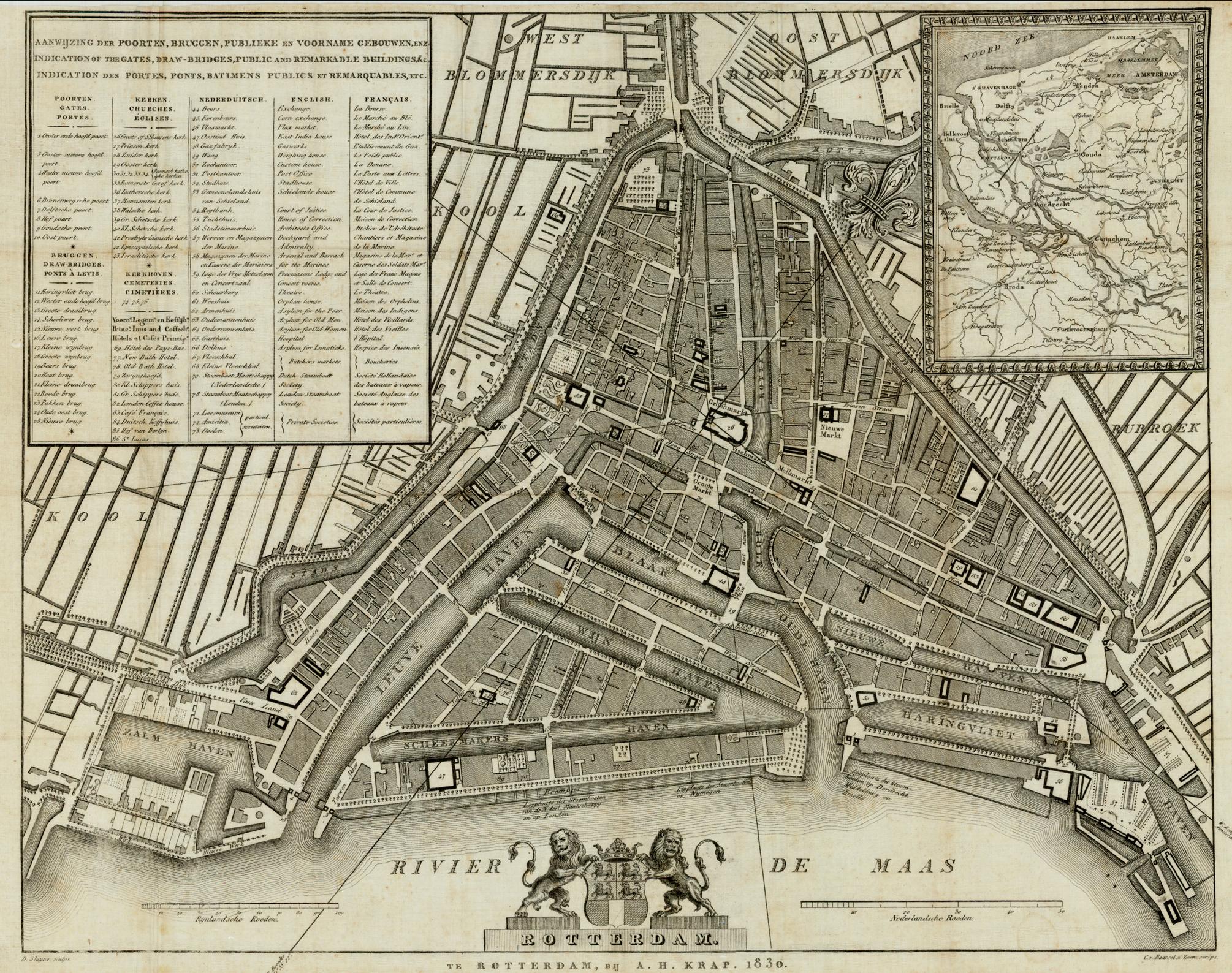Rotterdam kaart A.H. Krap 1830