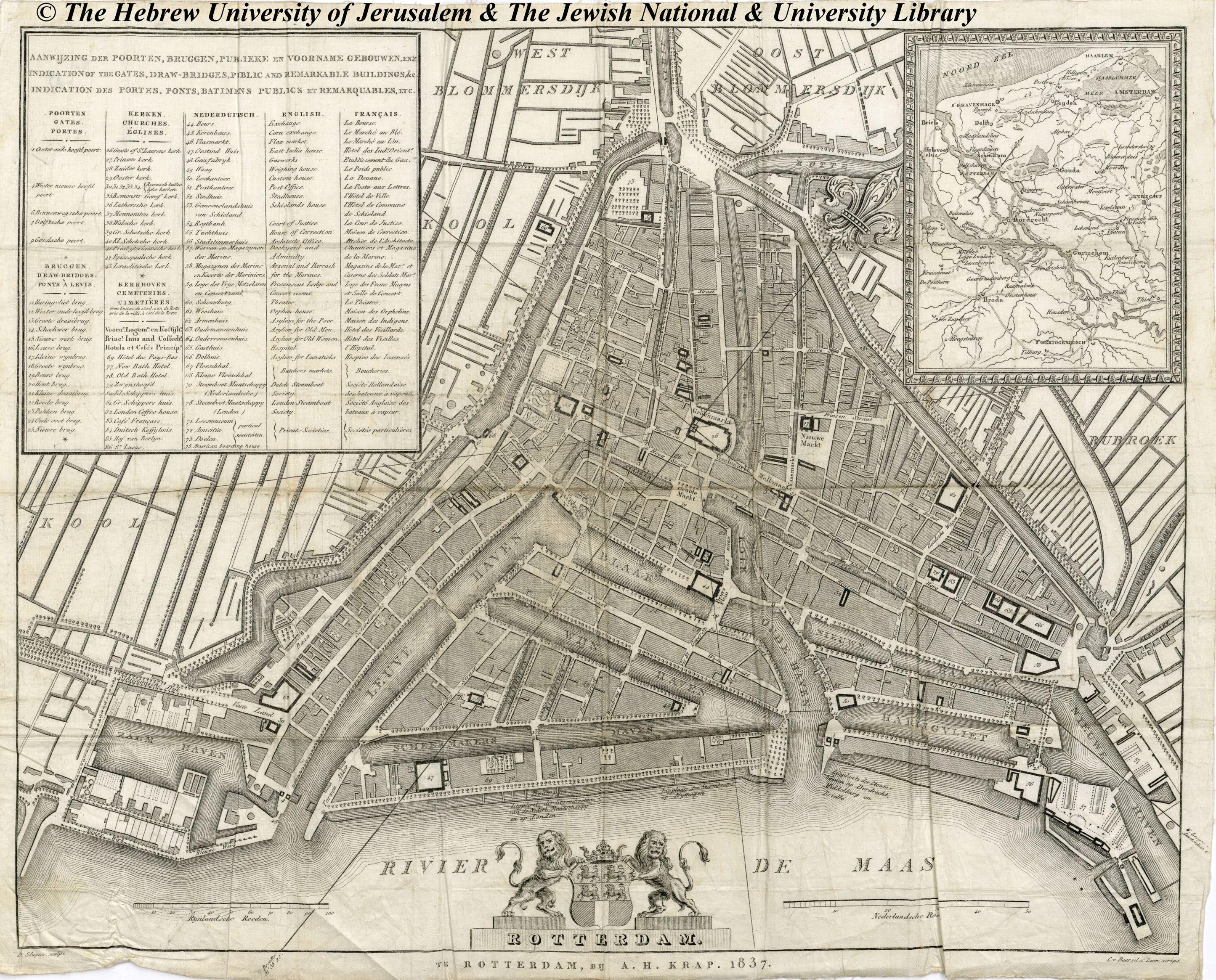 Rotterdam kaart A.H. Krap 1837